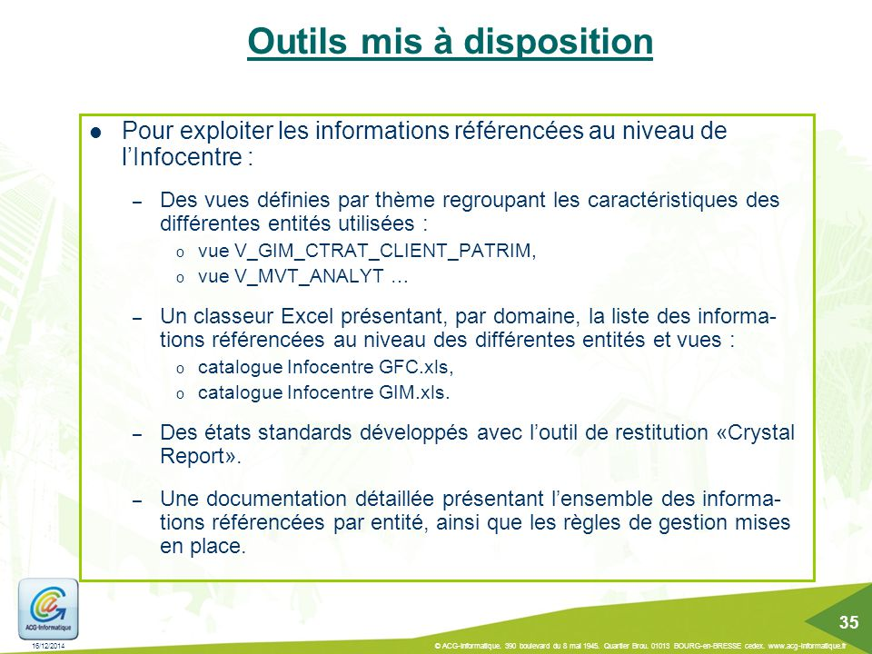 Outils mis à disposition