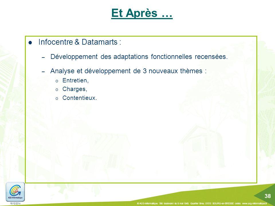 Et Après … Infocentre & Datamarts :