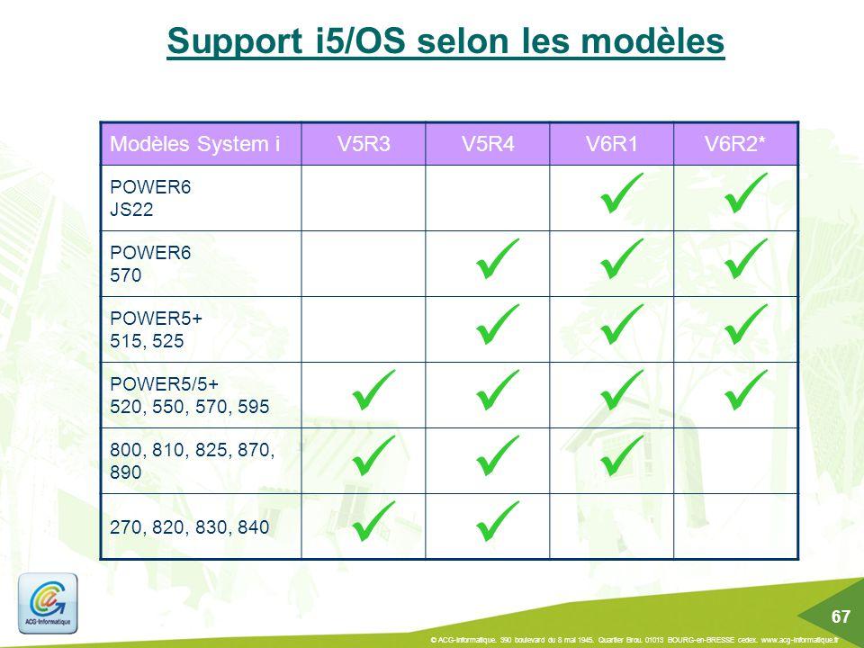 Support i5/OS selon les modèles