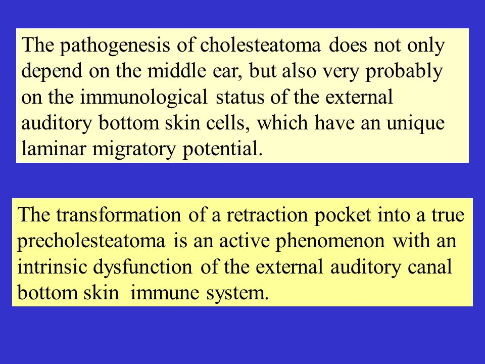 The pathogenesis of cholesteatoma does not only depend on the middle ear, but also very probably on the immunological status of the external auditory bottom skin cells, which have an unique