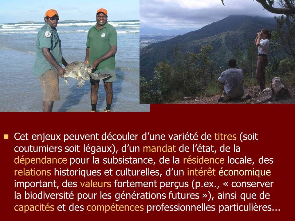 Cet enjeux peuvent découler d'une variété de titres (soit coutumiers soit légaux), d'un mandat de l'état, de la dépendance pour la subsistance, de la résidence locale, des relations historiques et culturelles, d'un intérêt économique important, des valeurs fortement perçus (p.ex., « conserver la biodiversité pour les générations futures »), ainsi que de capacités et des compétences professionnelles particulières...