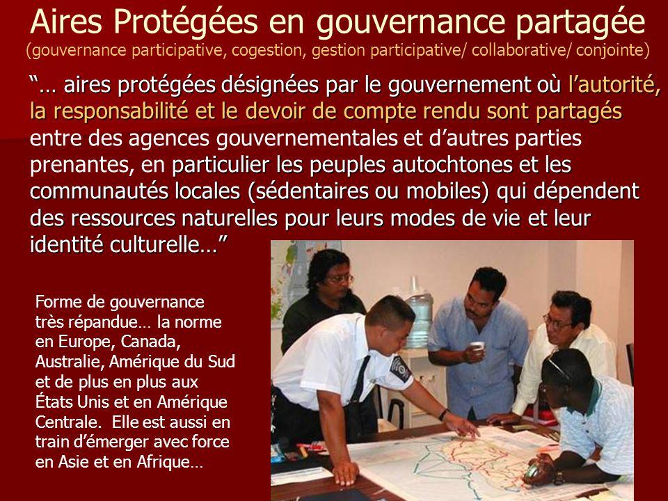 Aires Protégées en gouvernance partagée (gouvernance participative, cogestion, gestion participative/ collaborative/ conjointe)
