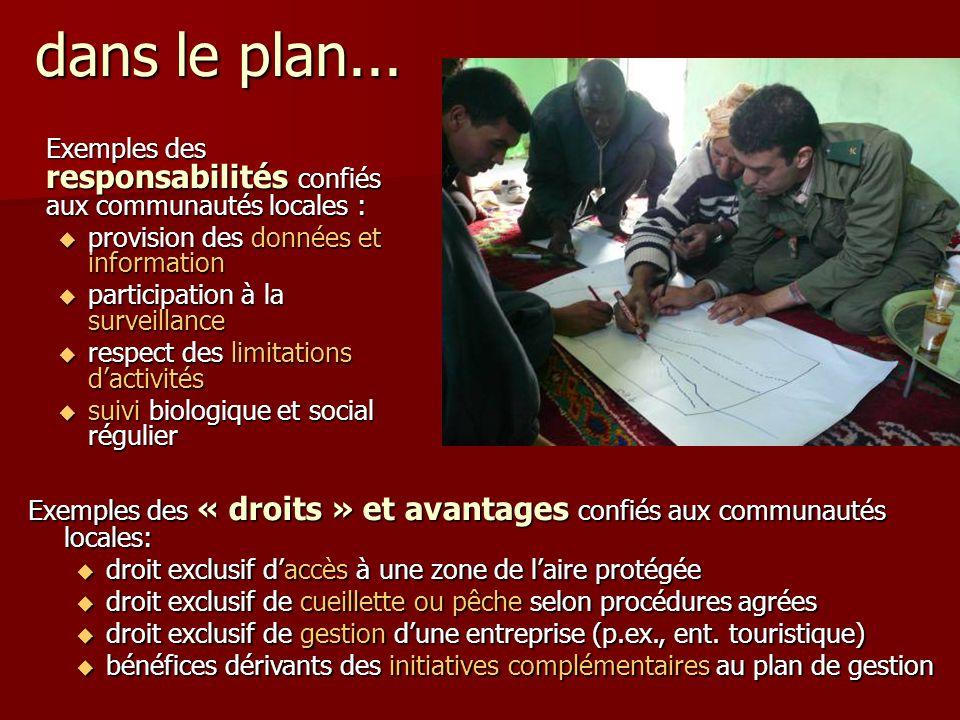 dans le plan... Exemples des responsabilités confiés aux communautés locales : provision des données et information.