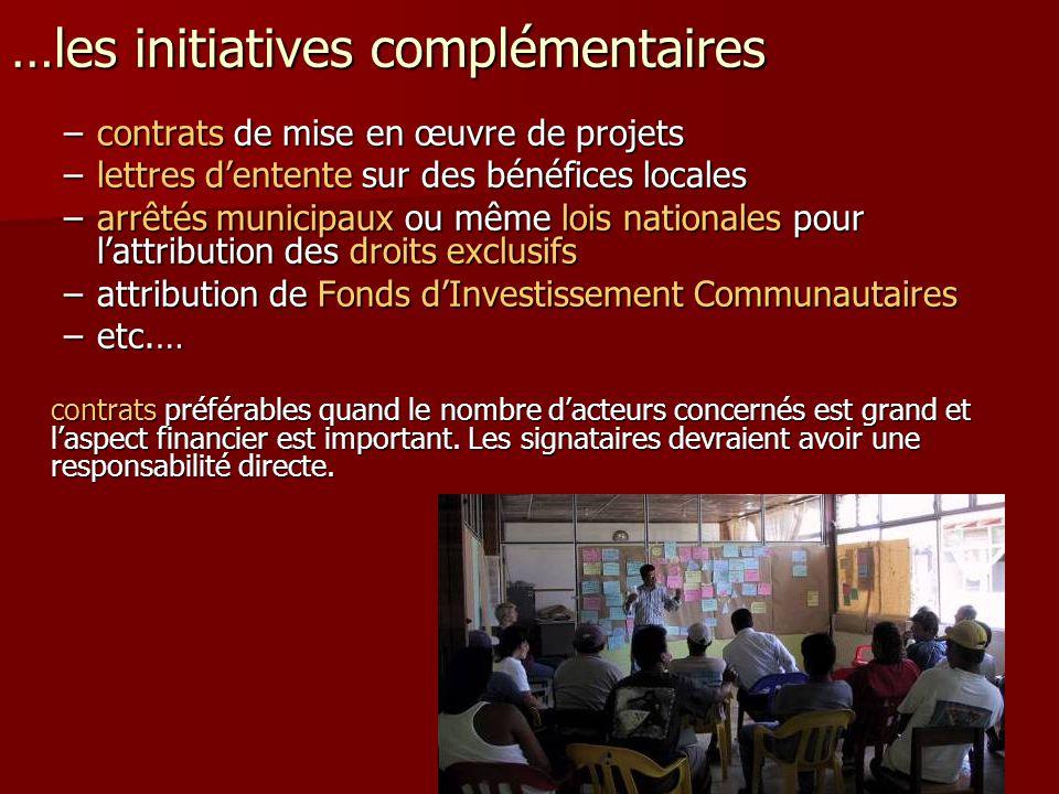 …les initiatives complémentaires