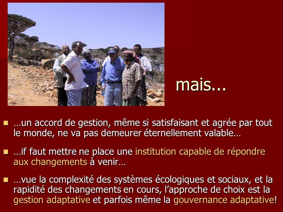 mais... …un accord de gestion, même si satisfaisant et agrée par tout le monde, ne va pas demeurer éternellement valable…