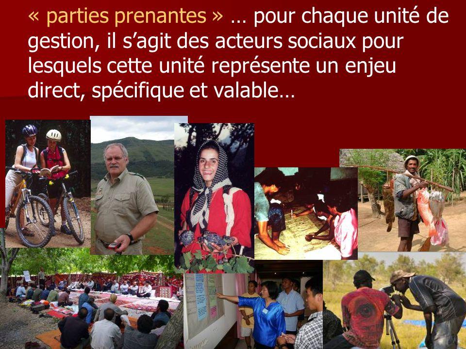 « parties prenantes » … pour chaque unité de gestion, il s'agit des acteurs sociaux pour lesquels cette unité représente un enjeu direct, spécifique et valable…