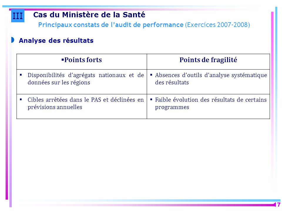 Principaux constats de l'audit de performance (Exercices 2007-2008)