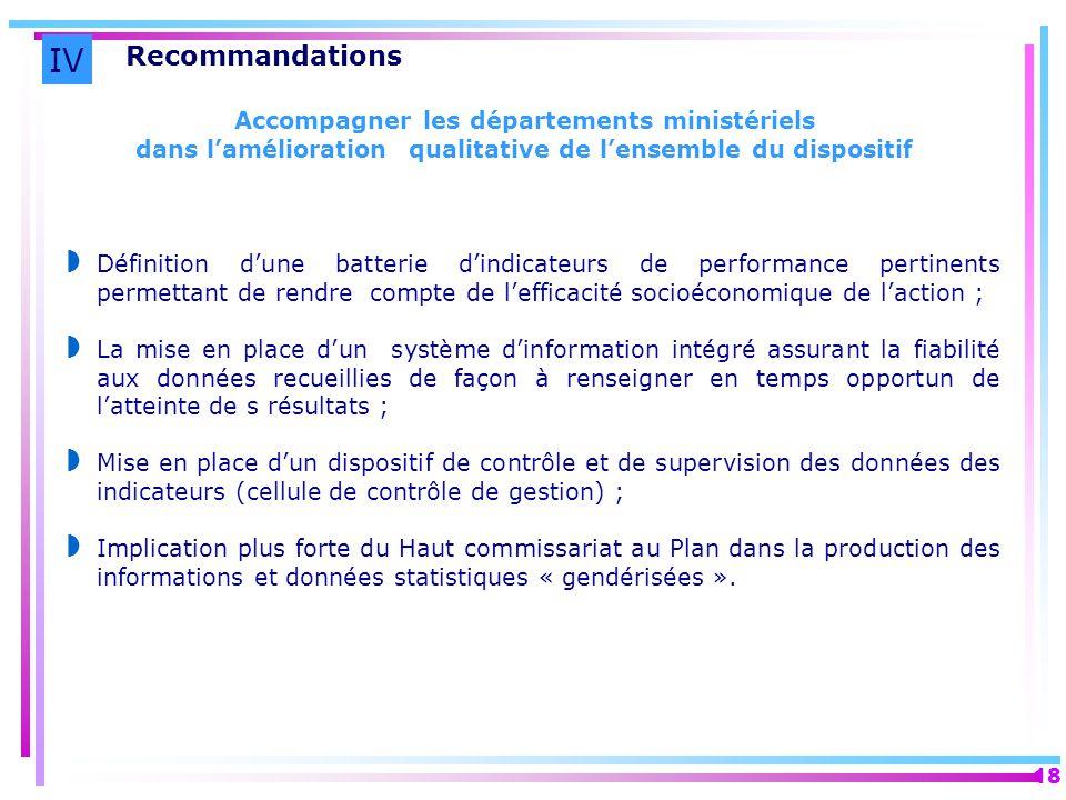 IV Recommandations Accompagner les départements ministériels