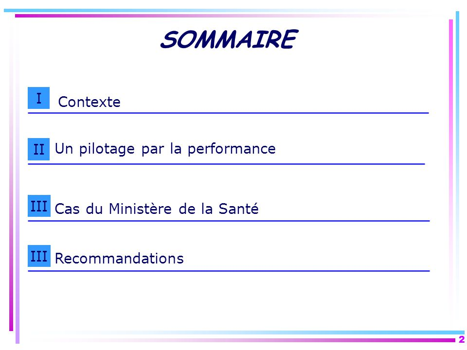 SOMMAIRE I Contexte II Un pilotage par la performance III