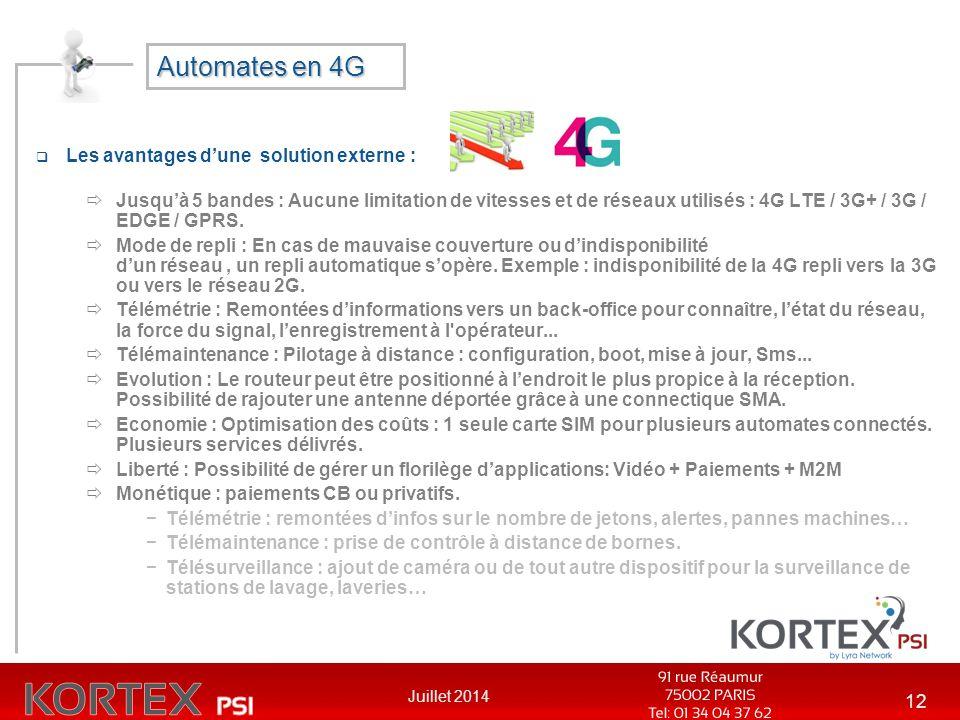 Automates en 4G Les avantages d'une solution externe :
