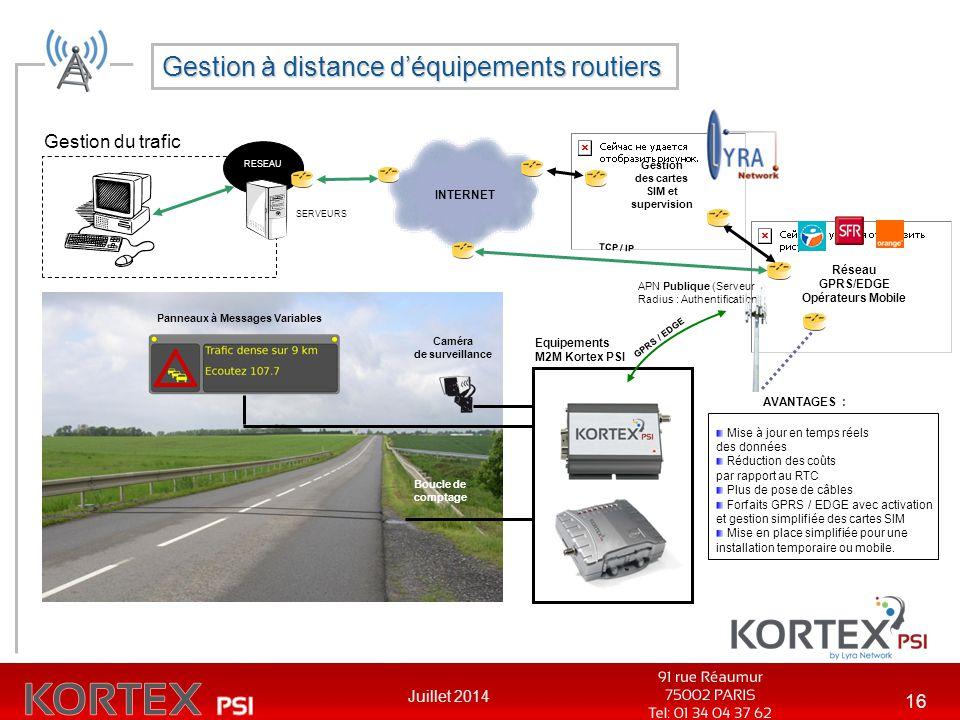 Gestion à distance d'équipements routiers