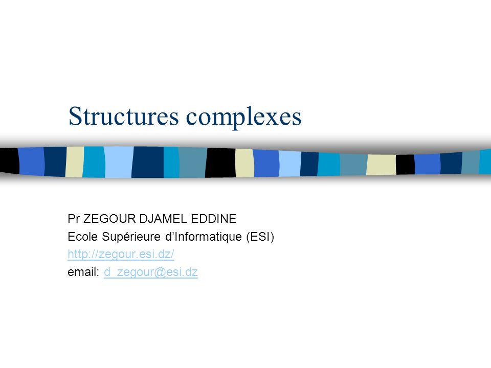 Structures complexes Pr ZEGOUR DJAMEL EDDINE