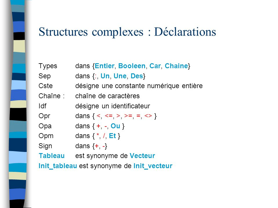 Structures complexes : Déclarations