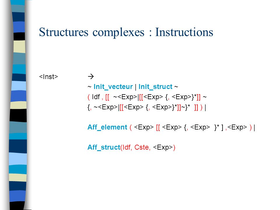 Structures complexes : Instructions