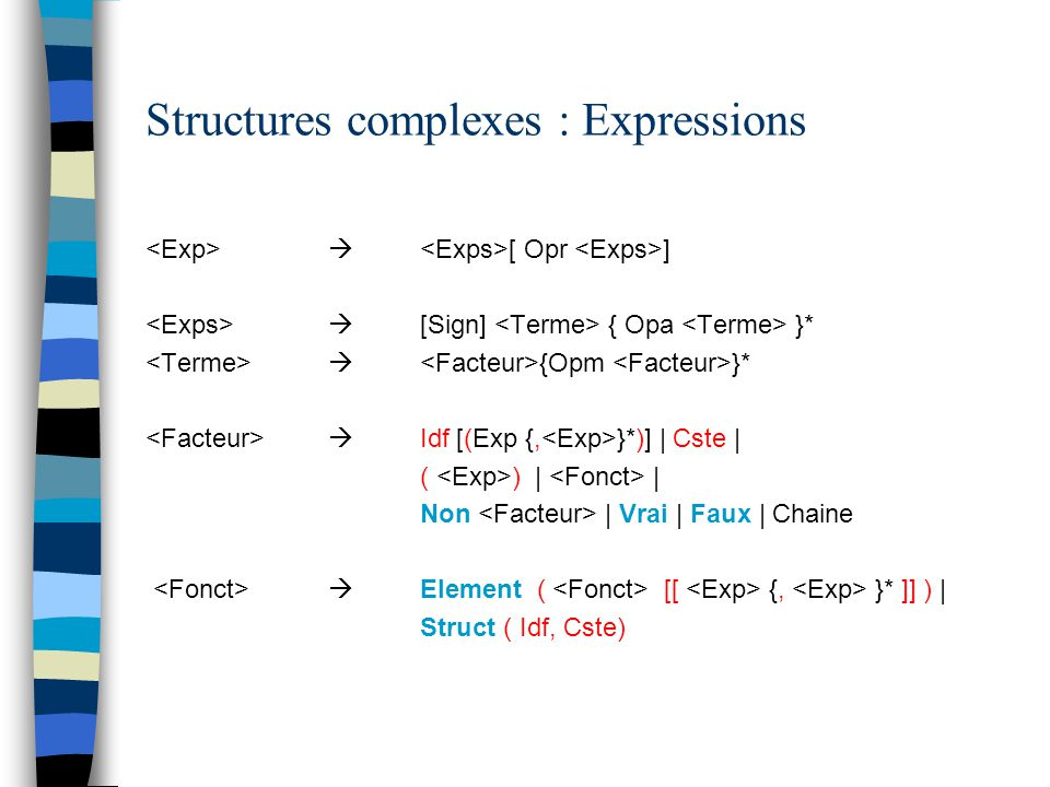 Structures complexes : Expressions