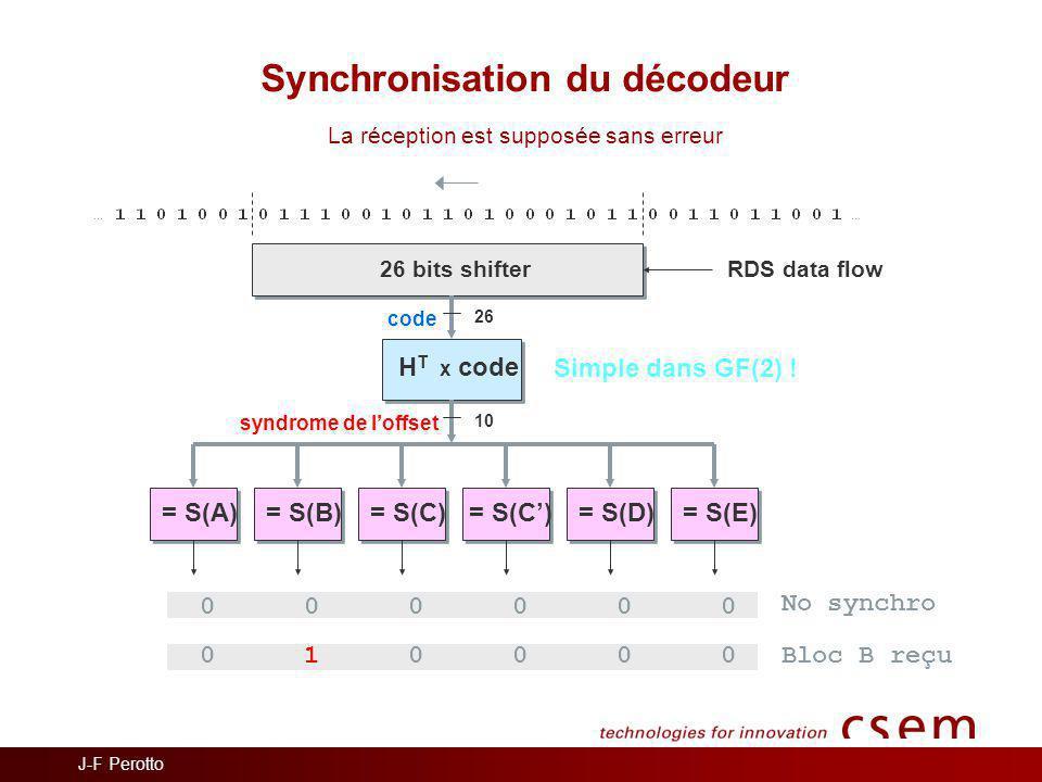 Synchronisation du décodeur