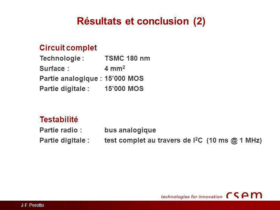 Résultats et conclusion (2)