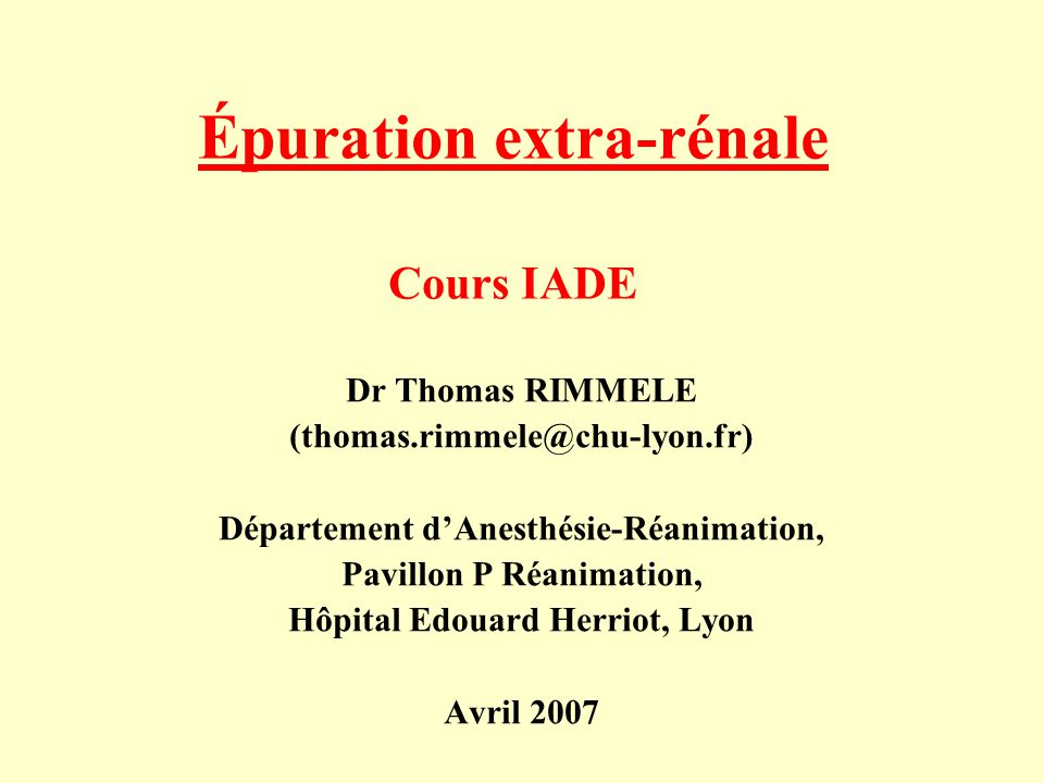 Épuration extra-rénale Cours IADE