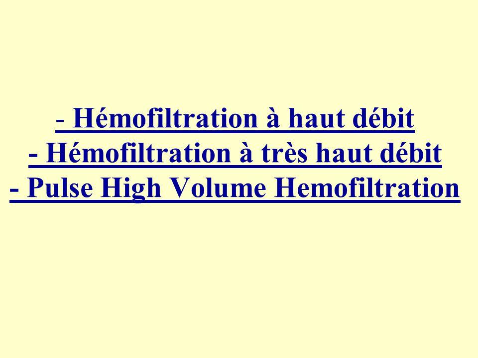 - Hémofiltration à haut débit - Hémofiltration à très haut débit - Pulse High Volume Hemofiltration