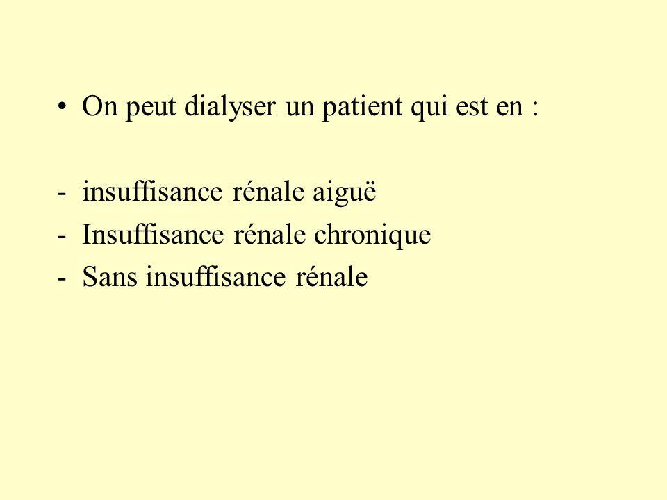 On peut dialyser un patient qui est en :