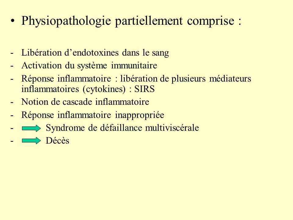 Physiopathologie partiellement comprise :
