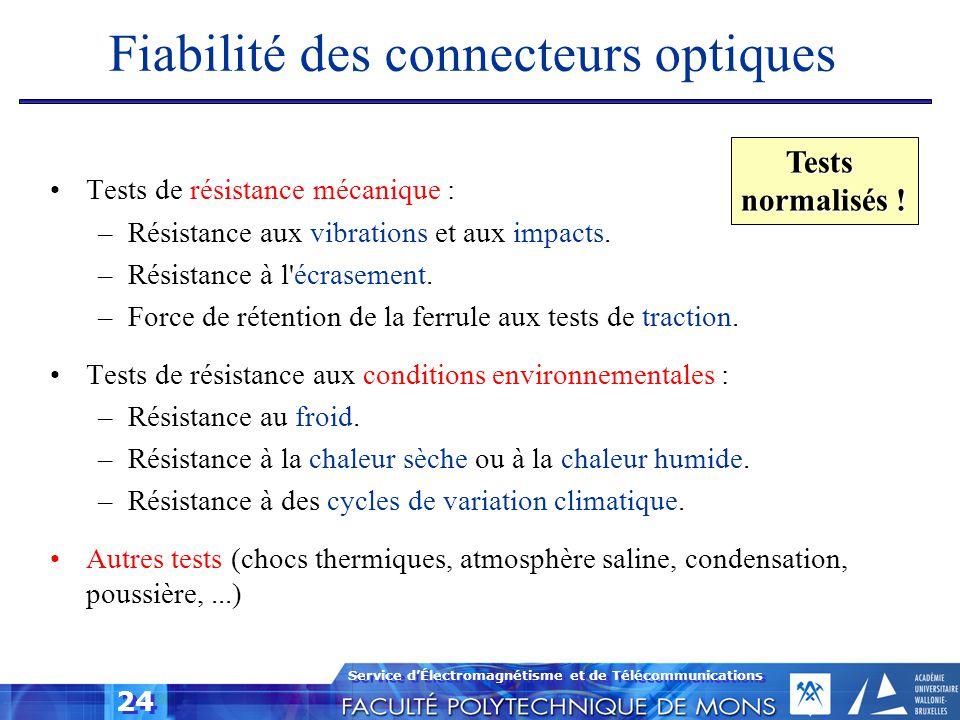 Fiabilité des connecteurs optiques