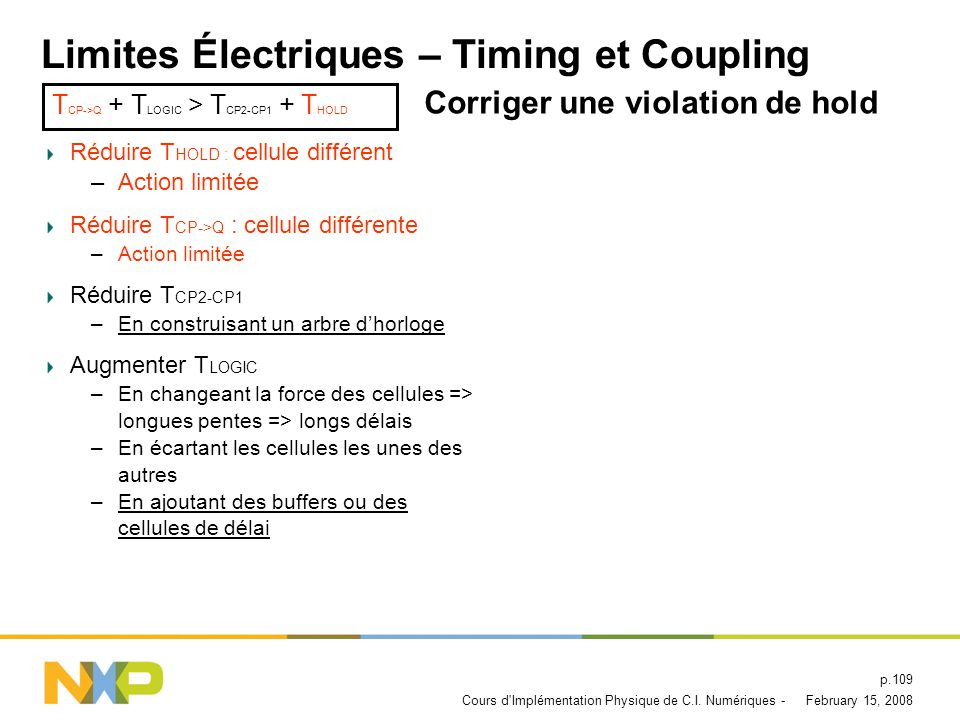 Limites Électriques – Timing et Coupling