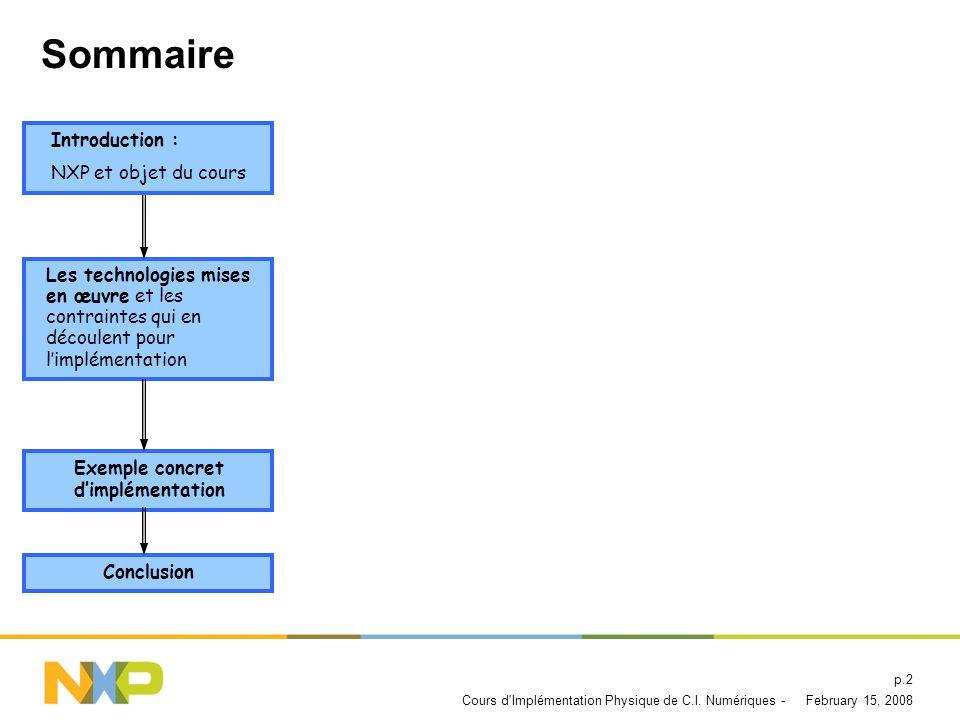 Sommaire Introduction : NXP et objet du cours