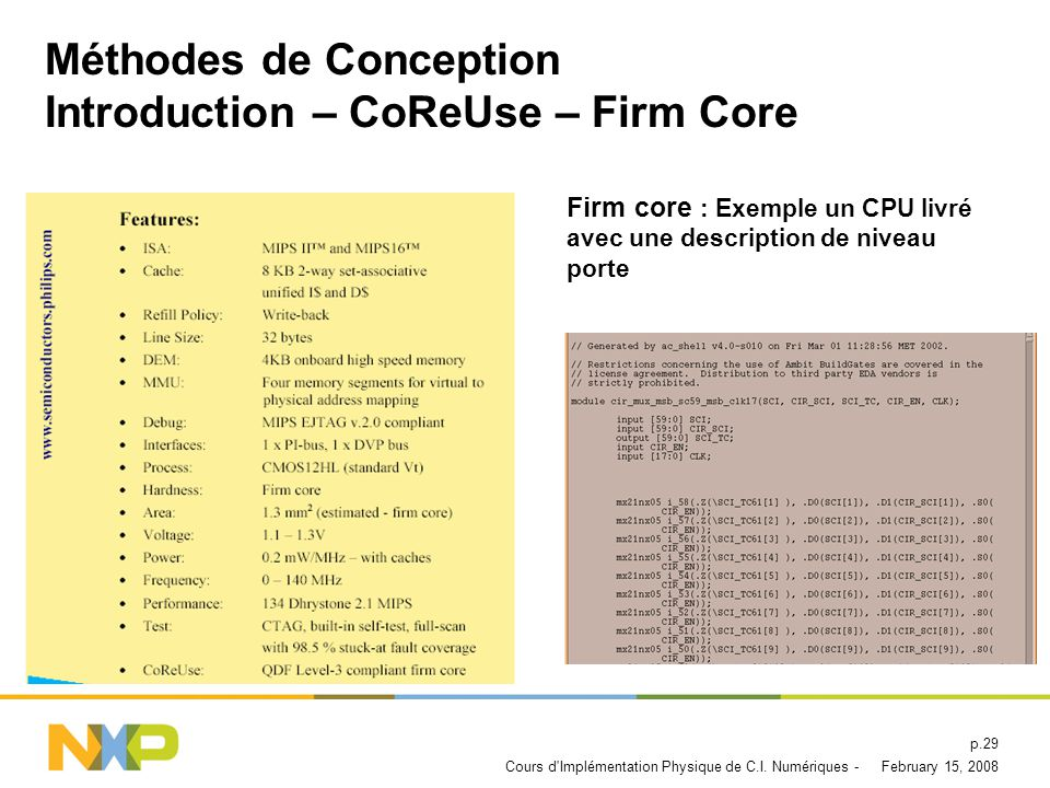 Méthodes de Conception Introduction – CoReUse – Firm Core
