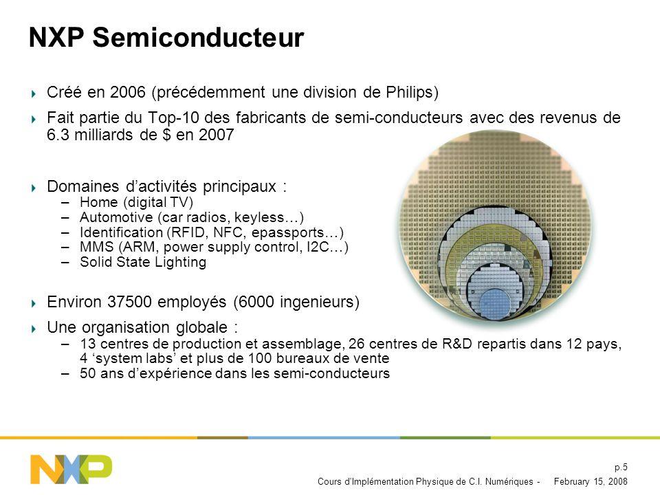 NXP Semiconducteur Créé en 2006 (précédemment une division de Philips)