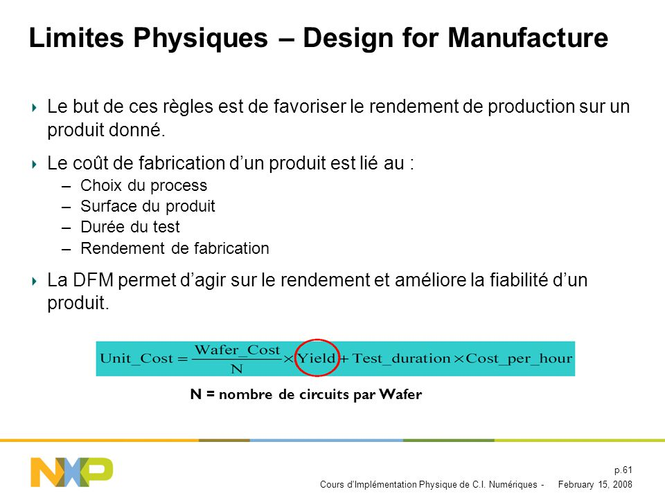 Limites Physiques – Design for Manufacture