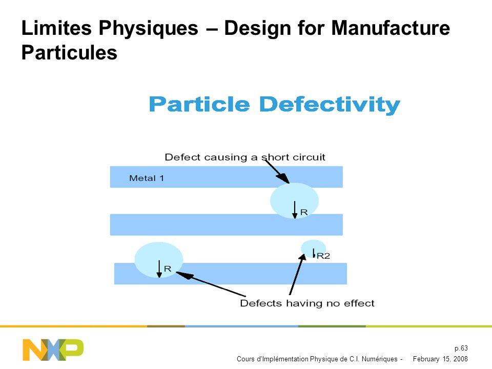Limites Physiques – Design for Manufacture Particules