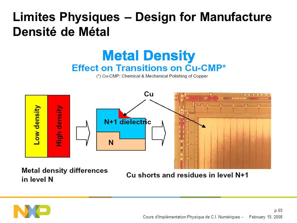 Limites Physiques – Design for Manufacture Densité de Métal