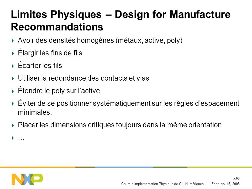 Limites Physiques – Design for Manufacture Recommandations