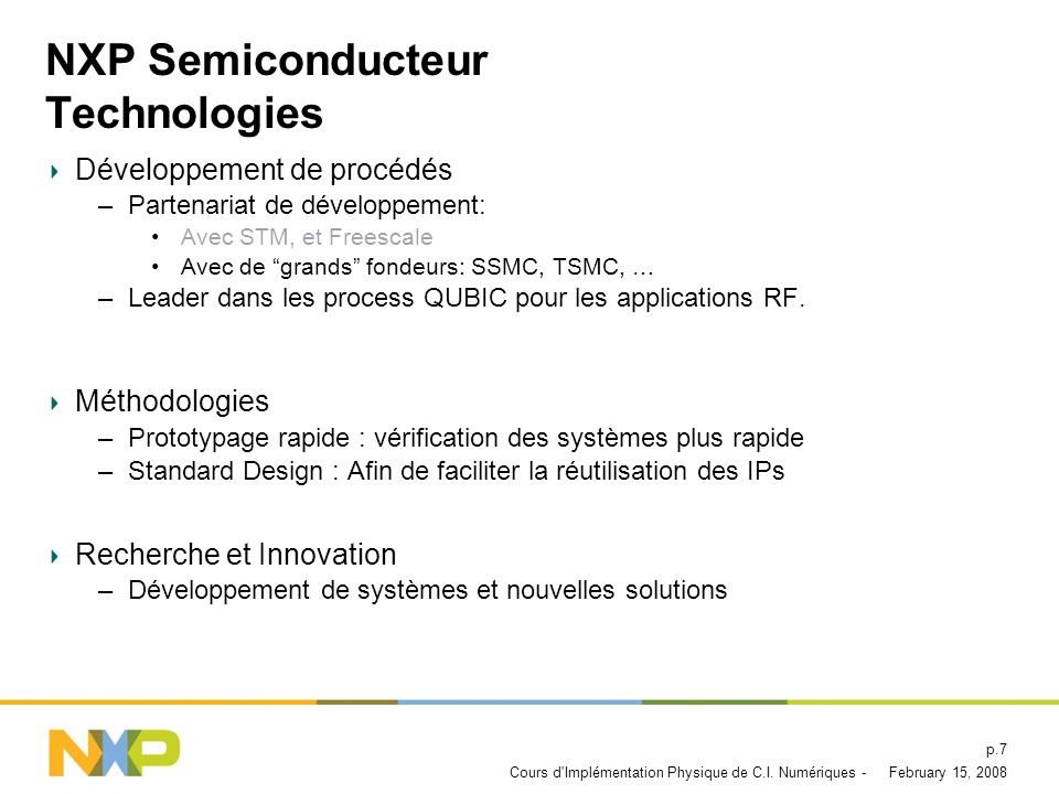 NXP Semiconducteur Technologies
