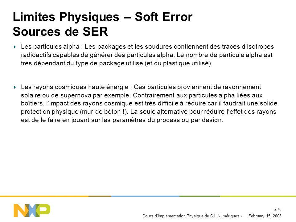 Limites Physiques – Soft Error Sources de SER