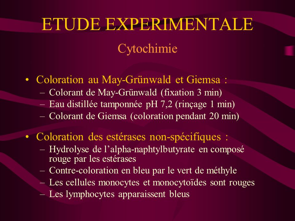 ETUDE EXPERIMENTALE Cytochimie Coloration au May-Grünwald et Giemsa :