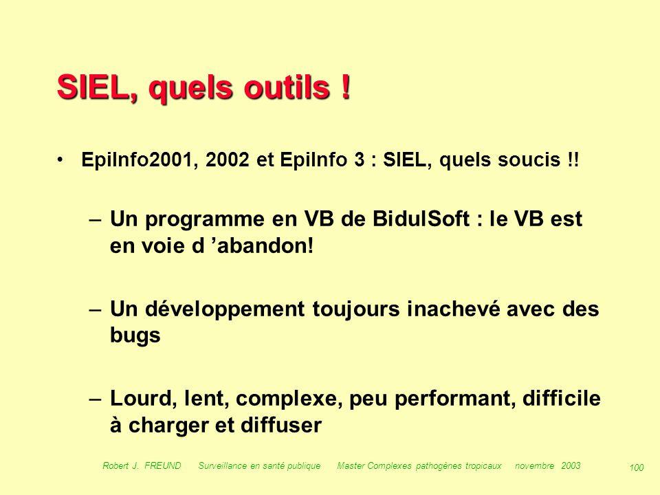 SIEL, quels outils ! EpiInfo2001, 2002 et EpiInfo 3 : SIEL, quels soucis !! Un programme en VB de BidulSoft : le VB est en voie d 'abandon!
