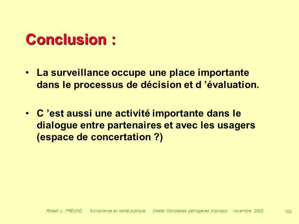Conclusion : La surveillance occupe une place importante dans le processus de décision et d 'évaluation.