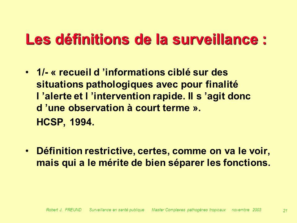 Les définitions de la surveillance :