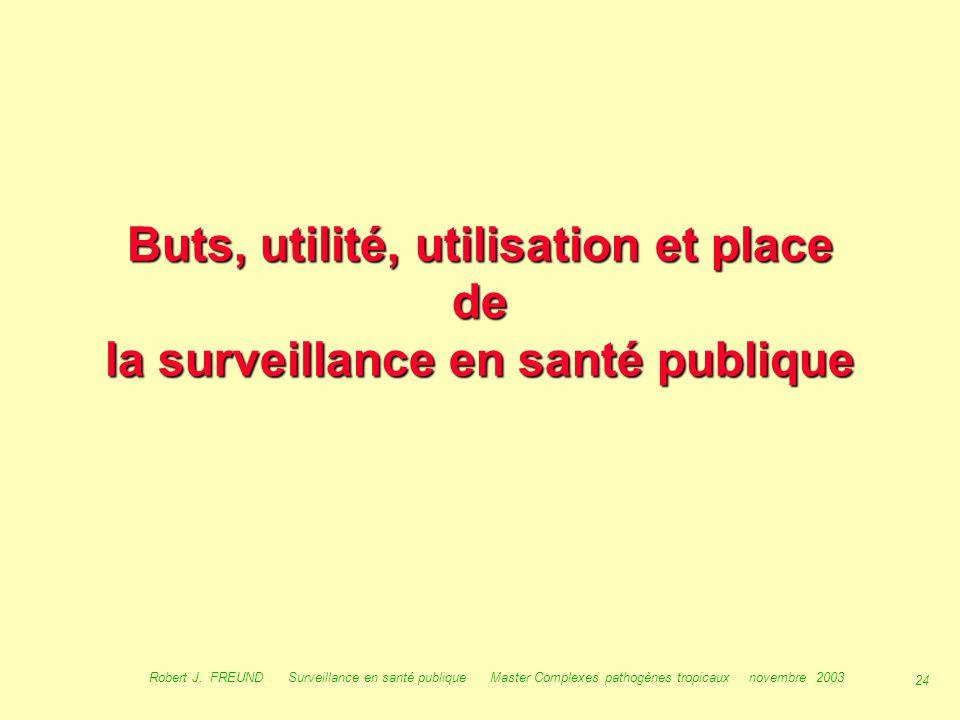 Buts, utilité, utilisation et place de la surveillance en santé publique