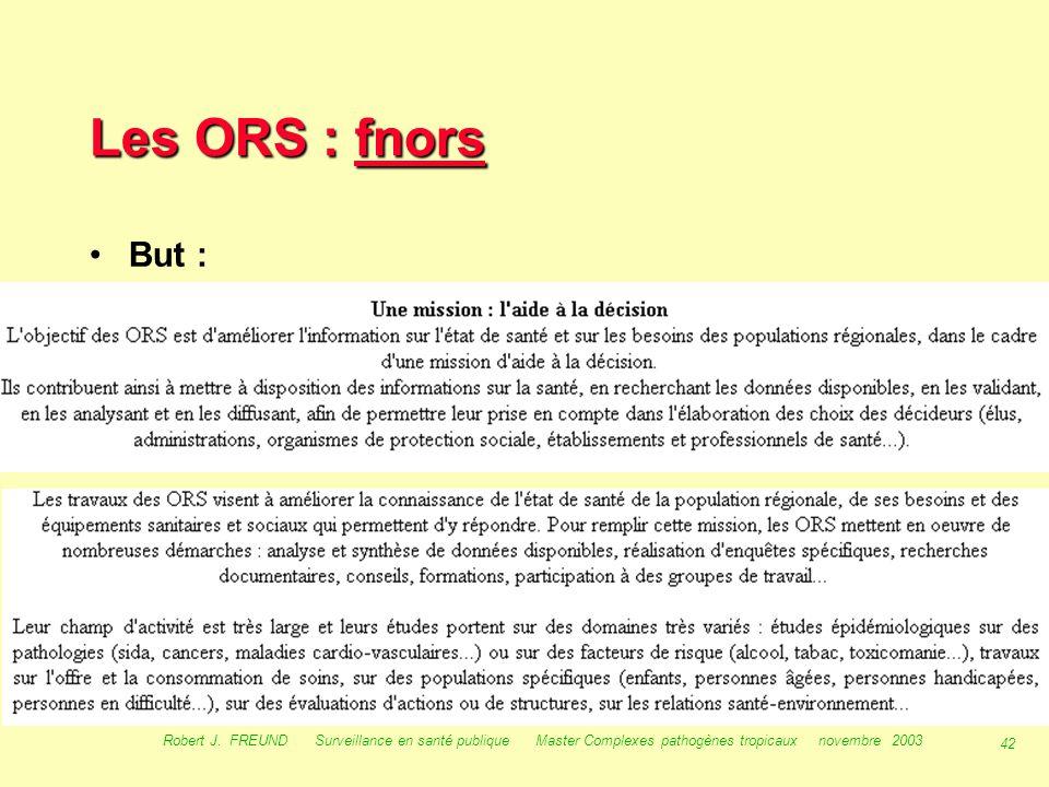 Les ORS : fnors But : Robert J.