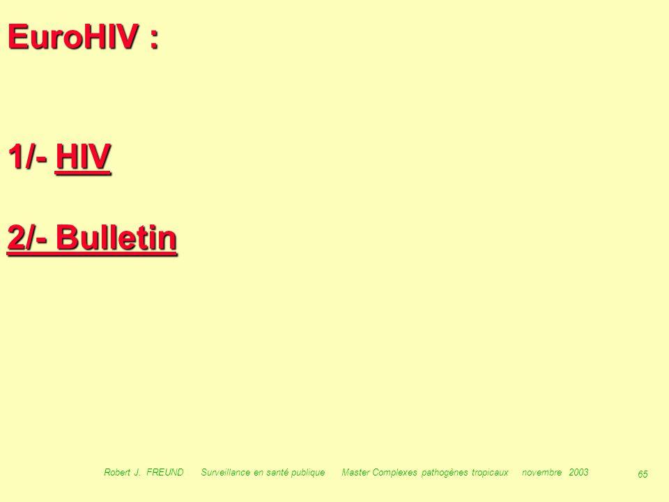 EuroHIV : 1/- HIV 2/- Bulletin