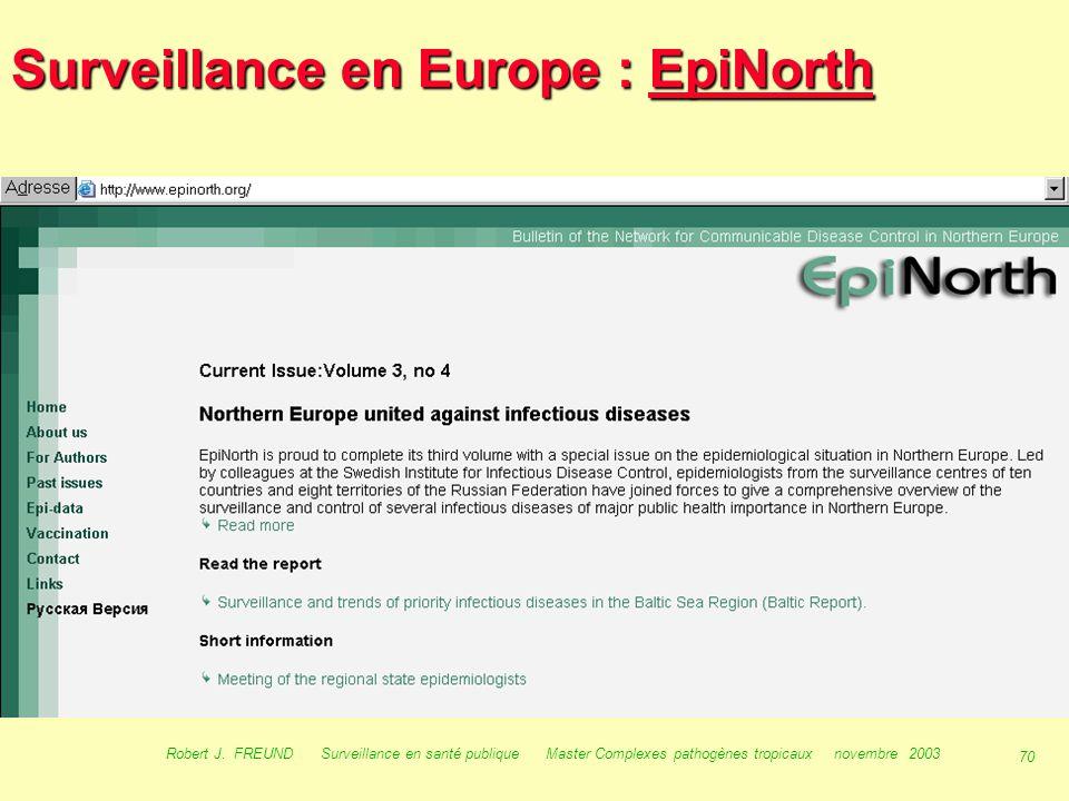 Surveillance en Europe : EpiNorth