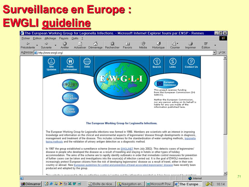 Surveillance en Europe : EWGLI guideline