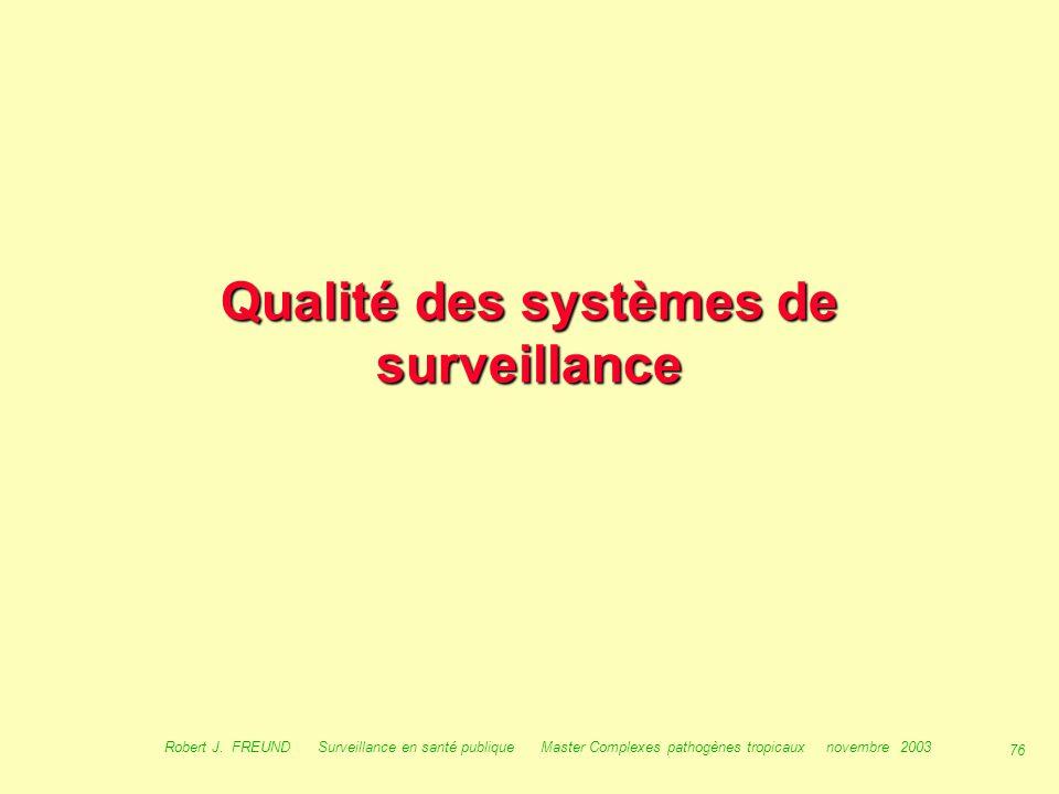 Qualité des systèmes de surveillance