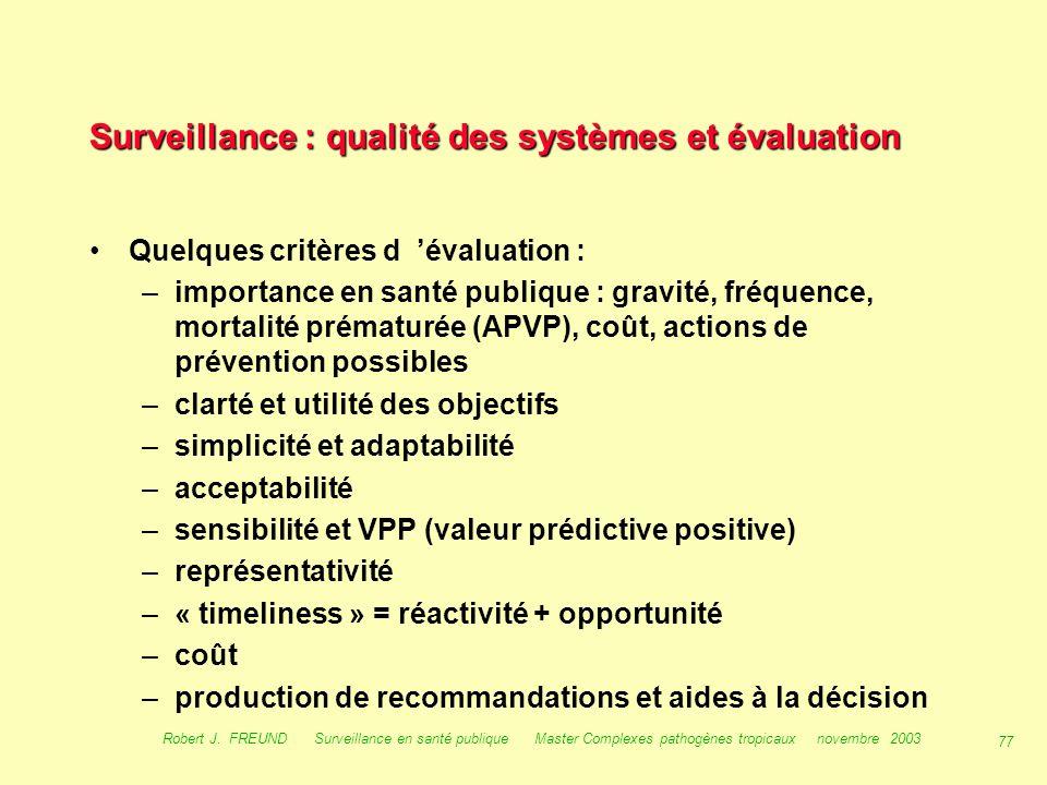Surveillance : qualité des systèmes et évaluation