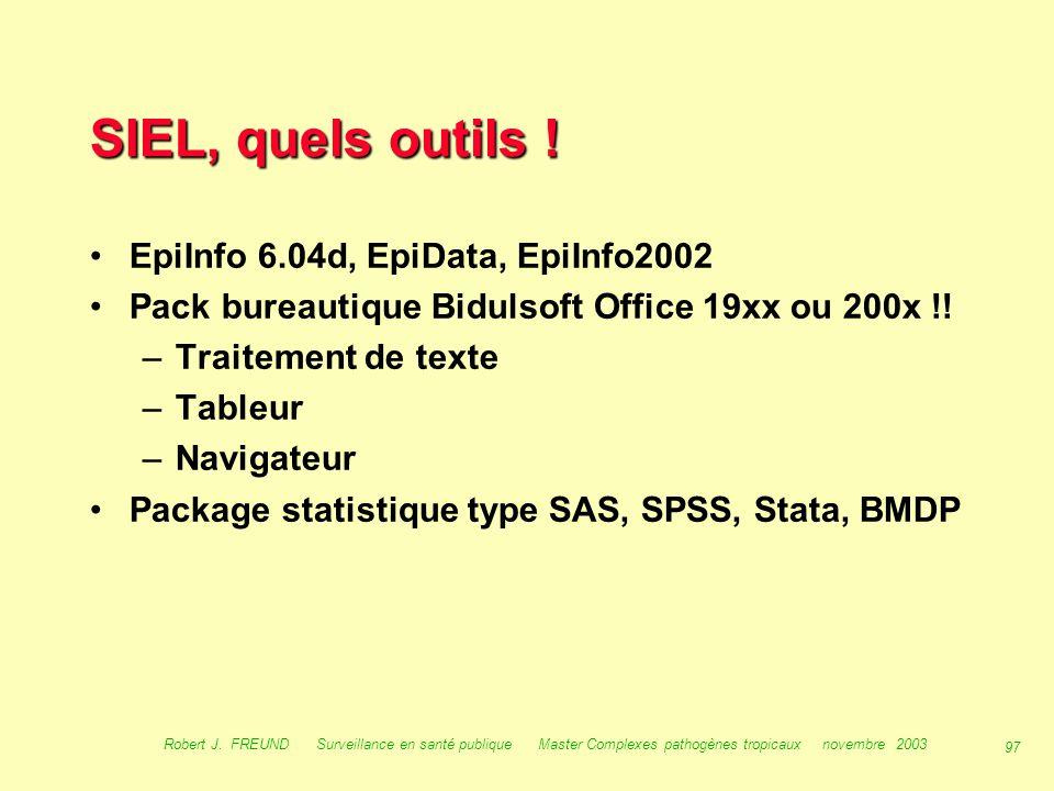 SIEL, quels outils ! EpiInfo 6.04d, EpiData, EpiInfo2002