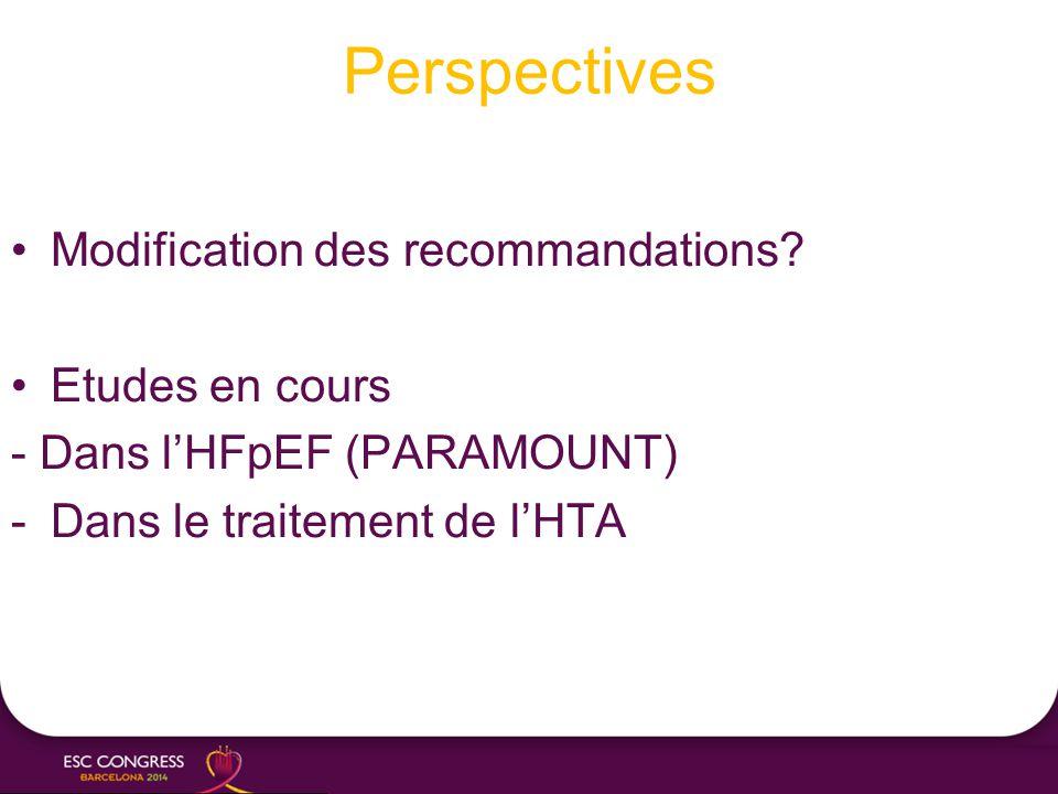 Perspectives Modification des recommandations Etudes en cours