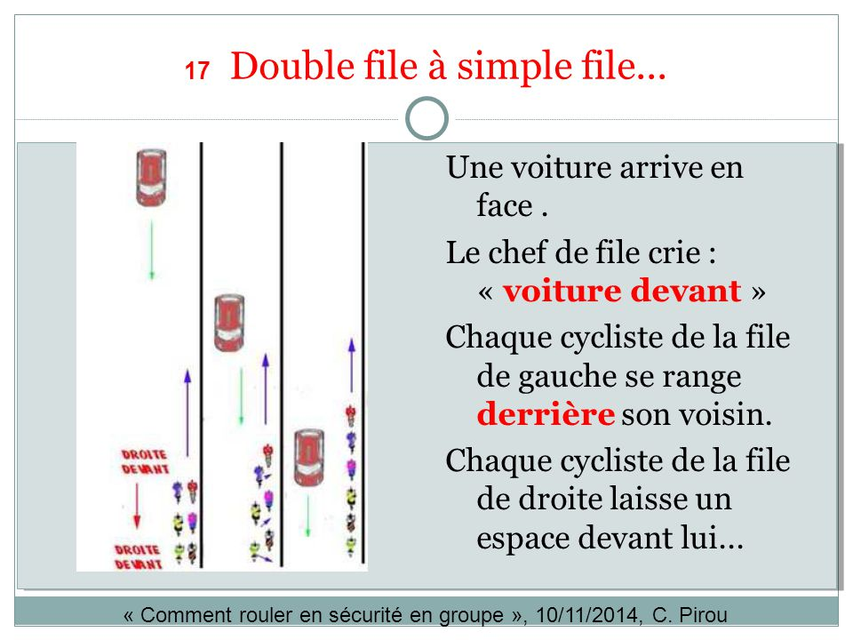17 Double file à simple file...
